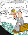 Cartoon: Toy fair Nuremberg (small) by EASTERBY tagged toyfair,glovepuppets,salesman,hitchhiker