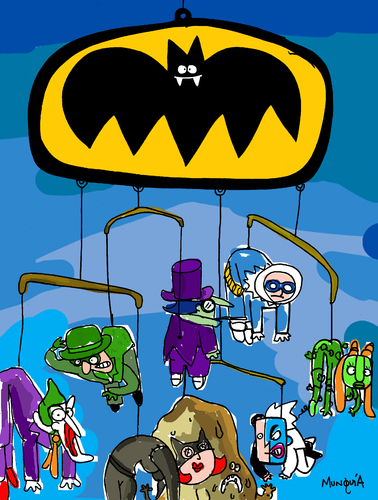 Cartoon: BatMobile (medium) by Munguia tagged bat,man,batmobile,batimovil,villians,captain,cool,catwoman,cat,joker,riddler,pinguin,clay,two,faced,faces,poison,ivy,munguia,calcamunguias