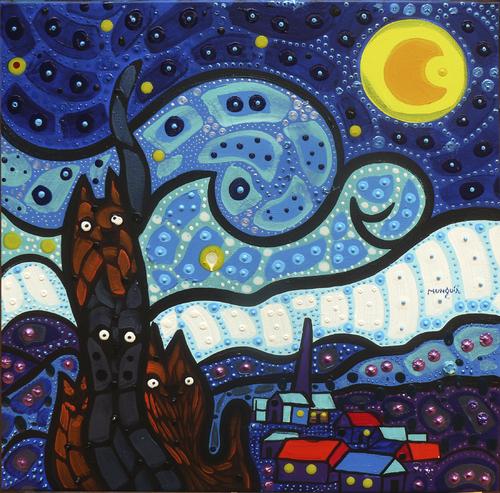 Cats Starry night By Munguia | Nature Cartoon | TOONPOOL