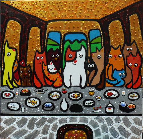 Cartoon: Cena Gatuna (medium) by Munguia tagged last,supper,ultima,cena,da,vinci,leonardo,cats,gatos