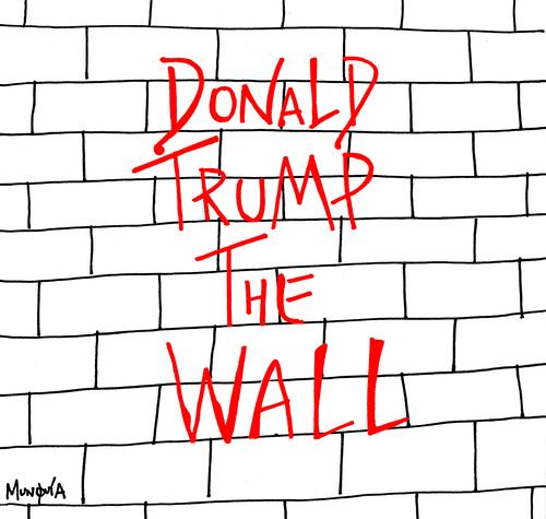 Pink floyd album cover parody portada disco el muro mexico frontera