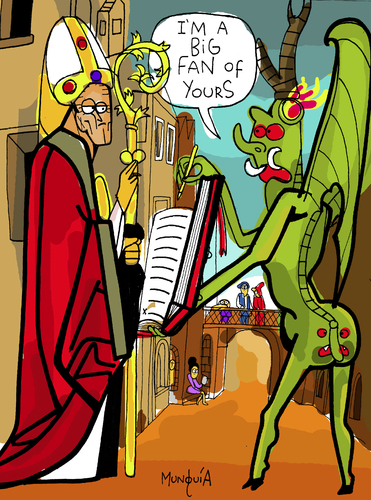 Cartoon: Dont trust the devil (medium) by Munguia tagged michael,pacher,saint,wolfgang,and,the,devil,built,church