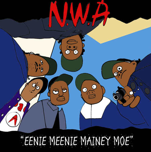 Cartoon: EENIE MEENEI MINEY MOE (medium) by Munguia tagged nwa,cover,album,eazy,ice,cube,dr,dre,straight,outta,compton,parody,spoof,mash,up