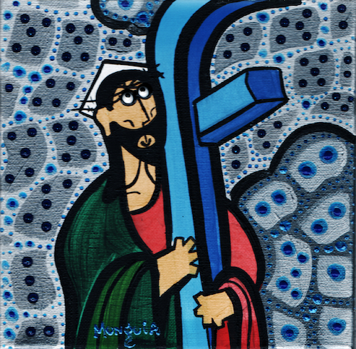 Cartoon: FB Jesus (medium) by Munguia tagged el,greco,cristo,con,la,cruz,christ,carrying,the,cross,famous,paintings,parodies,parody,spoof,cartoon