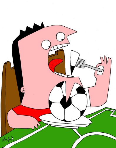 Cartoon: FoodBall 2nd version (medium) by Munguia tagged food,fast,soccer,football,munguia,costa,rica,ball,dinner,lunch,monchis,fan,foot