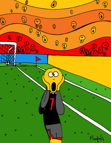Cartoon: Goal! (medium) by Munguia tagged munch,futball,goal,soccer,scream,munguia,edvard,parody