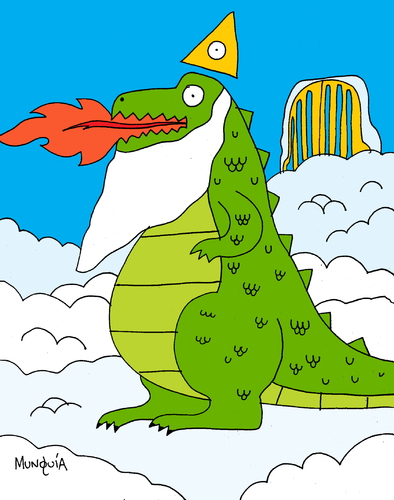 Cartoon: GODzilla (medium) by Munguia tagged god,godzilla,lizard,heaven,dragon,dinosaur