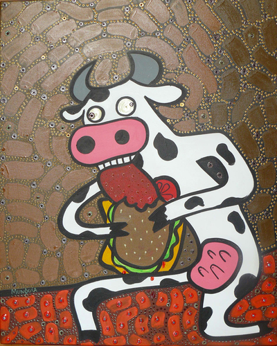 Cartoon: Mad Cow (medium) by Munguia tagged mad,cow,vaca,loca,goya,munguia,costa,rica