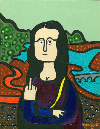 Cartoon: Monalisa giving the finger (medium) by Munguia tagged mona,lisa,gioconda,da,vinci,leonardo,munguia,finger,nasty,rude