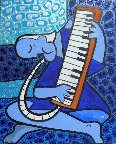 Cartoon: Old Melodica player (medium) by Munguia tagged air,piano,melodic,melodica,key,picasso,pablo,famous,paintings,parodies