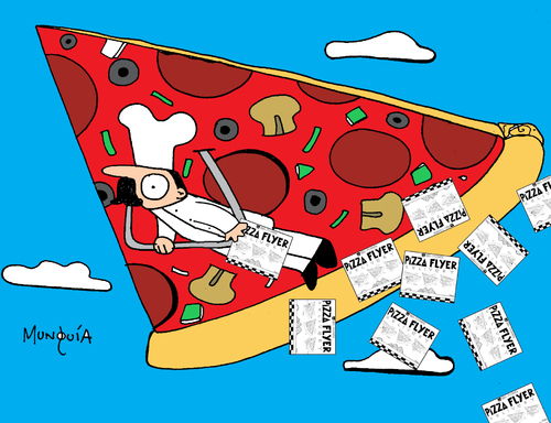 Cartoon: Pizza Flyer (medium) by Munguia tagged pizzapitch,pizza,food,flyers,disign,delta,slice,flying,fly