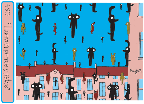 Cartoon: Raining dogs and cats (medium) by Munguia tagged cats,dogs,animals,raining,munguia,magrittte,geolconde