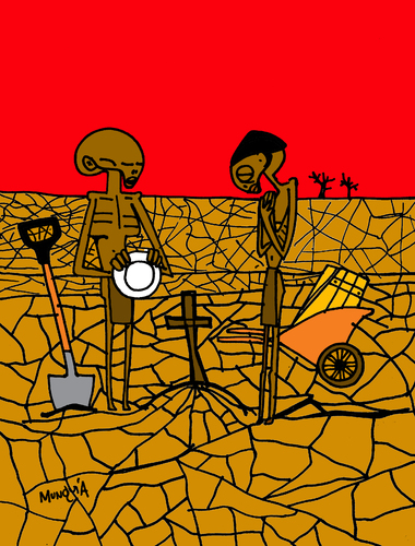 Cartoon: Sad Angelus (medium) by Munguia tagged tumb,cross,death,dead,food,african,rica,costa,munguia,parodies,famous,painting,cartoon,parody,millet,angelus,hunger,hungry,africa