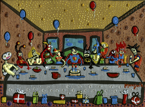 Cartoon: SuperMan 75th birthday party (medium) by Munguia tagged superman,super,man,dc,comics,da,vinci,last,supper,heroes,batman,spiderman,wolverine,he,chapulin,colorado,santo,wonder,woman,flash,green,latern,aquaman,painting,parody