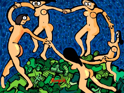 Cartoon: Take your clothes off (medium) by Munguia tagged the,dance,henri,matisse,nude,naked,famous,paintings,parodies