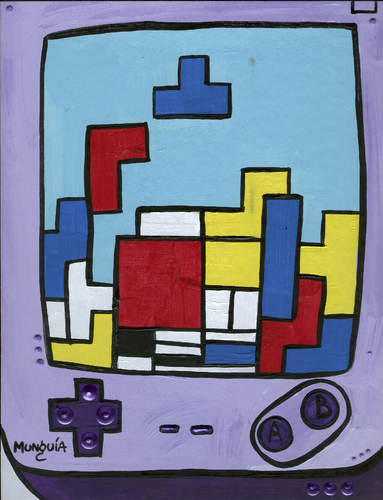 Cartoon: Tetris Mondrian (medium) by Munguia tagged tetris,game,boy,video,parody,geometric,abstract,painting