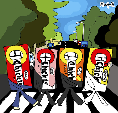 Cartoon: The Chiclets (medium) by Munguia tagged abbey,road,the,beatles,cliclets,adams,bubble,gum,goma,de,mascar,mind,parody,cover,album,calcamunguias