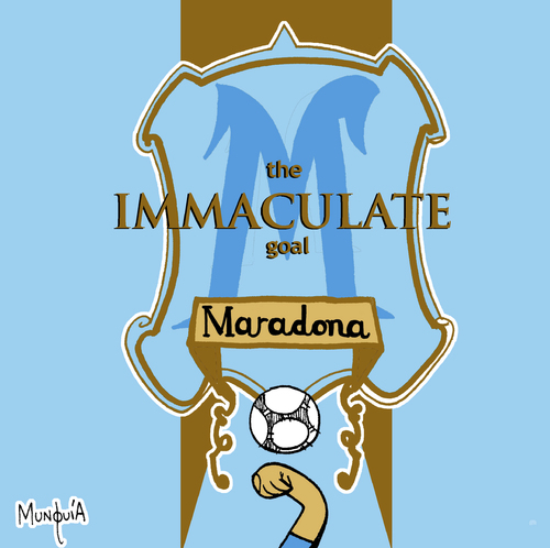 Cartoon: The Immaculate Goal (medium) by Munguia tagged madonna,maradona,immaculate,collection,hand,god,goal,soccer,argentina