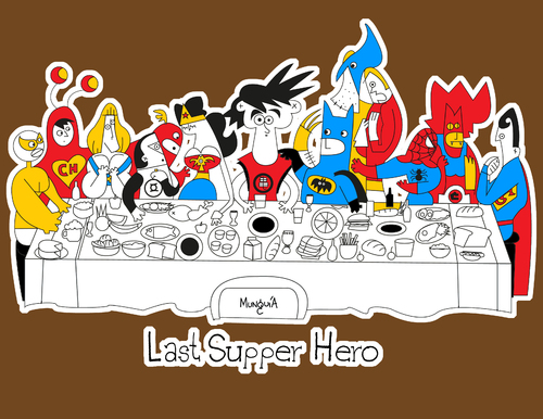 Cartoon: the Last supper Hero (medium) by Munguia tagged last,supper,super,hero,batman,superman,goku,dragon,ball,flash,wonder,woman,men,thunder,cat,spiderman,wolverine,he,man,green,lentern