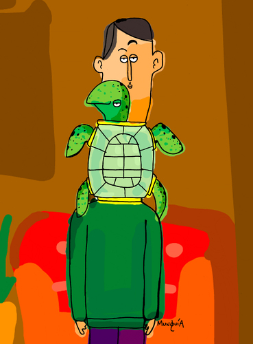Cartoon: turtleneck (medium) by Munguia tagged reptile,sea,fashion,calcamunguia,munguia,turtleneck,neck,turtle