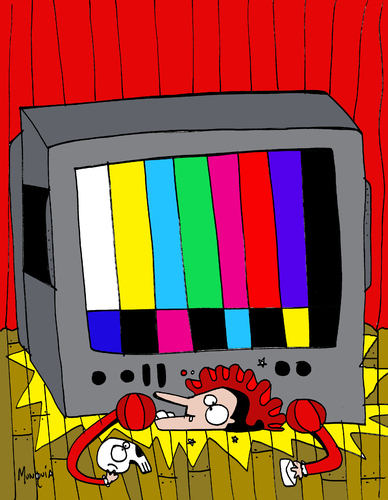 Cartoon: tv vrs theater (medium) by Munguia tagged public,choice,tv,television,theater,actor,shakespiere,hamlet,to,be,or,not,skull