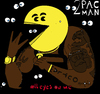 Cartoon: 2 Pac Man (small) by Munguia tagged 2pac,tupac,shakur,cover,album,parody,pac,man,video,game,rap
