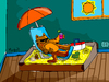 Cartoon: beach time (small) by Munguia tagged cat,sandbox,liter,kitty,beach,hollyday,sun