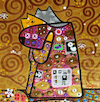 Cartoon: Cat Hug (small) by Munguia tagged gustav klimt famous paintings parodies