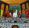 Cartoon: Cena Gatuna (small) by Munguia tagged last,supper,ultima,cena,da,vinci,leonardo,cats,gatos