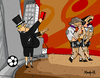 Cartoon: expelled from  credit paradise (small) by Munguia tagged expulsed from garden of eden paradise banks money pour rich football red card penalty out munguia massaccio