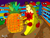 Cartoon: Fruit Punch (small) by Munguia tagged fruit,punch,box,fight,boxers,fighters,banana,pineapple,pina,banano,knock,out,fruits,tropical