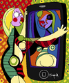 Cartoon: Girl Before an I-Phone (small) by Munguia tagged pablo,picasso,girl,before,mirror,phone,parody,famous,painting,art