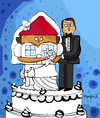 Cartoon: House Wife (small) by Munguia tagged housewife,house,wife,marriage,wedding,bride,husband,literal,word,play