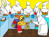 Cartoon: KKKfc express (small) by Munguia tagged race monks bishop zurbaran monjes blancos white fried chicken fast food express