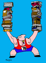 Cartoon: Levantado de texto (small) by Munguia tagged books,libros,texto,deporte,pesas,levantador,peso,pesado