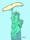 Cartoon: Liberty Pizza (small) by Munguia tagged pizzapitch,liberty,statue,freedom,pizza,throwing,in,the,air,cook,book,italian,new,york