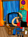 Cartoon: looking out the window (small) by Munguia tagged window,look,facebook,public,life,neighborhood