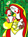 Cartoon: MacDonna (small) by Munguia tagged mac donald macdonna madonna boticelli sandro munguia fast food religion art parody renacimiento donna calcamunguias