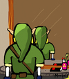 Cartoon: Not to be reproducede Link (small) by Munguia tagged not,to,be,reproduced,rene,magritte,mirror,link,back,zelda,nintendo,video,game