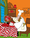 Cartoon: pizza all over the world (small) by Munguia tagged pizzapitch vermeer astronomer astro world pizza all over chef kitchen planet