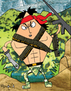 Cartoon: Rombo (small) by Munguia tagged rambo,rhombus,tv,movie,stallone,silvester,war,vietnam,gun,munguia