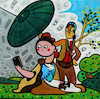 Cartoon: Selfie (small) by Munguia tagged goya parasol parody famous paintings celphone self photo