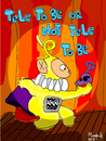 Cartoon: Tele To Be or Not Tele To Be (small) by Munguia tagged tv,teletubbies,television,lala,shakespiere,hamlet,to,be,or,not,theater,spot,light