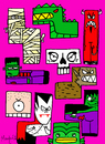 Cartoon: Tetrics (small) by Munguia tagged tetris,videogames,games,tetric,monsters,monstruos,dracula,wolf,mummy