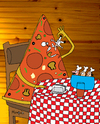 Cartoon: The revenge of the Pizza (small) by Munguia tagged pizzapitch chef eat restaurant reverse situations pizza slice cook italian