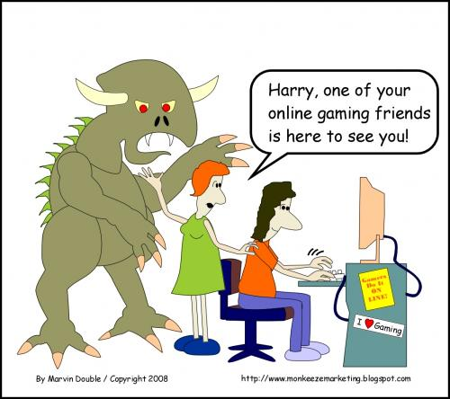 the perils of gaming online by mdouble media culture cartoon