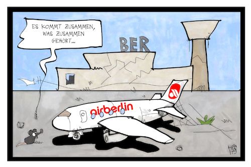 Cartoon: Air BERlin (medium) by Kostas Koufogiorgos tagged karikatur,koufogiorgos,illustration,cartoon,air,berlin,ber,fluglinie,flugzeug,maus,stillstand,warten,pleite,baustelle,karikatur,koufogiorgos,illustration,cartoon,air,berlin,ber,fluglinie,flugzeug,maus,stillstand,warten,pleite,baustelle