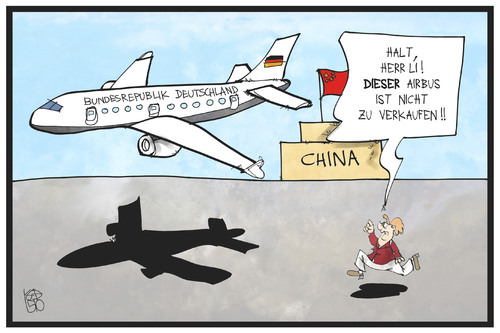 Cartoon: Airbus-Deal mit China (medium) by Kostas Koufogiorgos tagged karikatur,koufogiorgos,illustration,cartoon,airbus,china,merkel,li,wirtschaft,handel,flugzeug,deutschland,auftrag,wirtschaftsabkommen,karikatur,koufogiorgos,illustration,cartoon,airbus,china,merkel,li,wirtschaft,handel,flugzeug,deutschland,auftrag,wirtschaftsabkommen