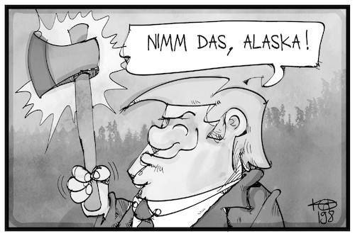 Cartoon: Alaska (medium) by Kostas Koufogiorgos tagged karikatur,koufogiorgos,illustration,cartoon,alaska,usa,wald,nationalpark,trump,umwelt,abholzung,axt,karikatur,koufogiorgos,illustration,cartoon,alaska,usa,wald,nationalpark,trump,umwelt,abholzung,axt