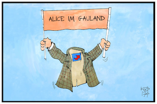 Cartoon: Alice im Gauland (medium) by Kostas Koufogiorgos tagged karikatur,koufogiorgos,illustration,cartoon,weibel,alice,gauland,afd,spitzenduo,partei,sakko,märchen,politik,karikatur,koufogiorgos,illustration,cartoon,weibel,alice,gauland,afd,spitzenduo,partei,sakko,märchen,politik
